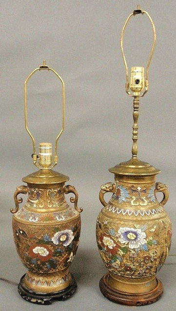 "22: Two similar cloisonné lamps, tallest 28"" to top o"