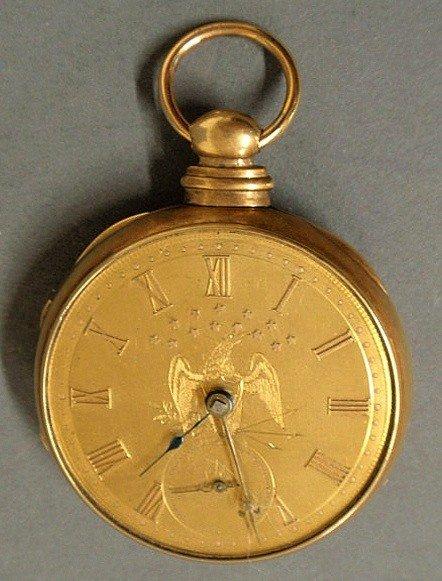 93: Men's 18k gold cased pocket watch, the face engra