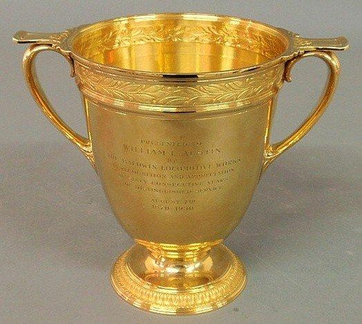 212: Tiffany & Co.18k gold presentation trophy inscrib