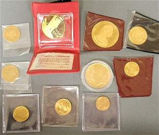 572: Lot of foreign gold and one Franklin Mint 18K, 10