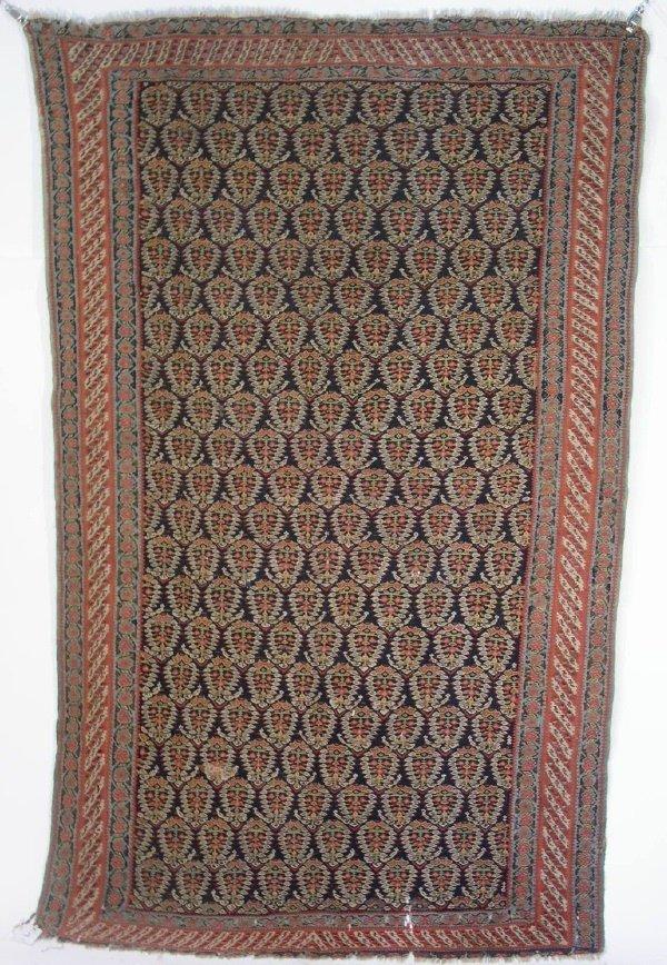 2: Rare Senneh Kilim hall carpet, red and blue.