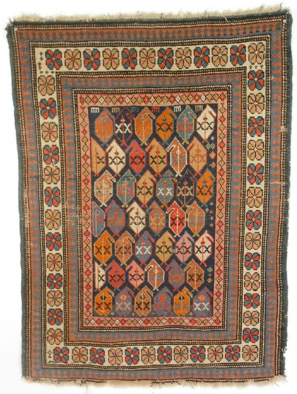 "3: Colorful oriental Senneh mat. 3'9""x2'10"""