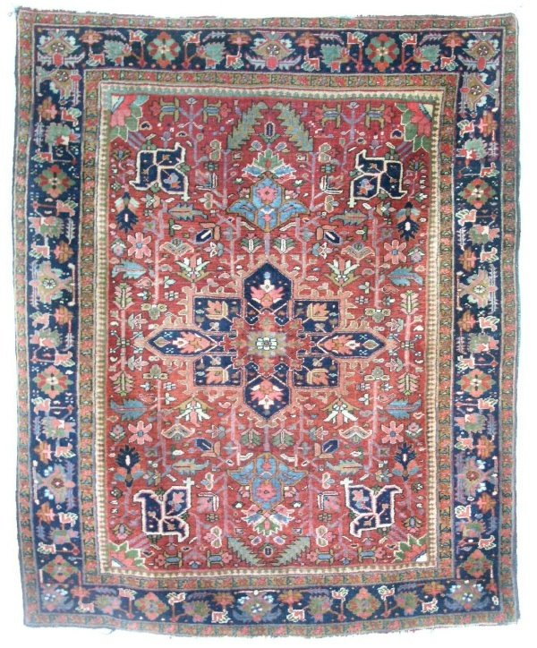 5: Heriz center hall carpet, red field and blue center