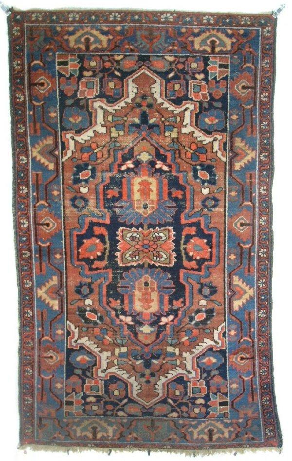 "21: Colorful Hamadan oriental mat, floral border. 5'9""x"