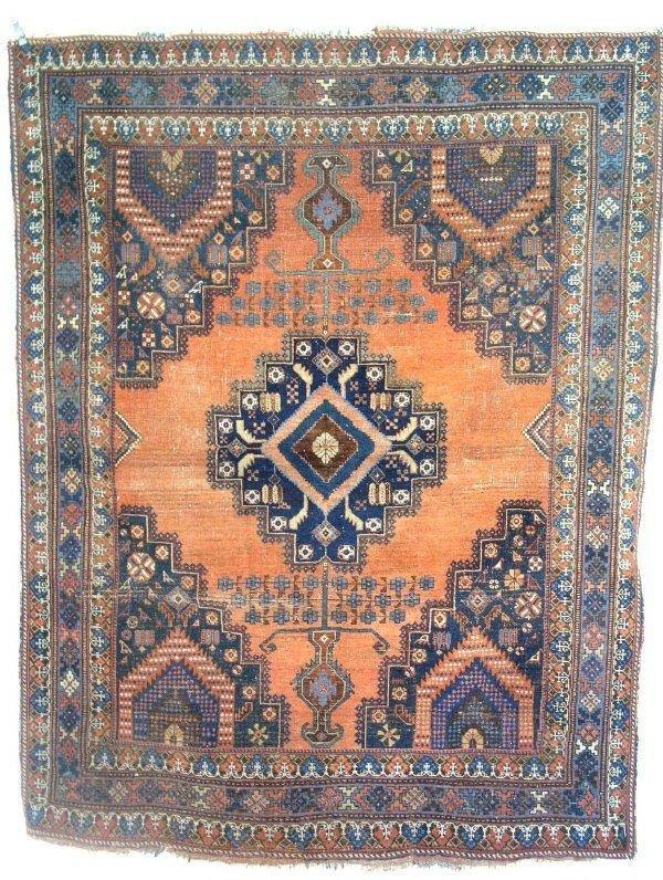 23: Oriental center hall mat, orange field, stylized fl