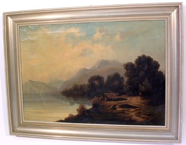 50A: Oil on canvas landscape painting, 19th c., with a