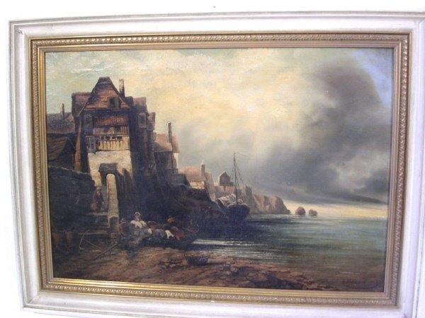 50B: Oil on canvas landscape painting, 19th c., of a vi