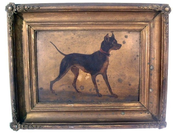 235: Oil on board painting of a dog, 19th c., mounted i