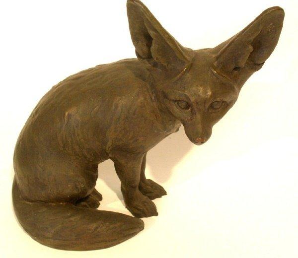 "262: Cast bronze seated fox signed ""Scundoz, Paris"". 11"