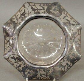 Silver Overlay Glass Centerpiece Bowl, C.1920. 4�