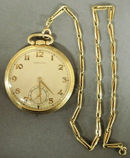 23: Hamilton 14k y.g. open-face pocket watch with a g