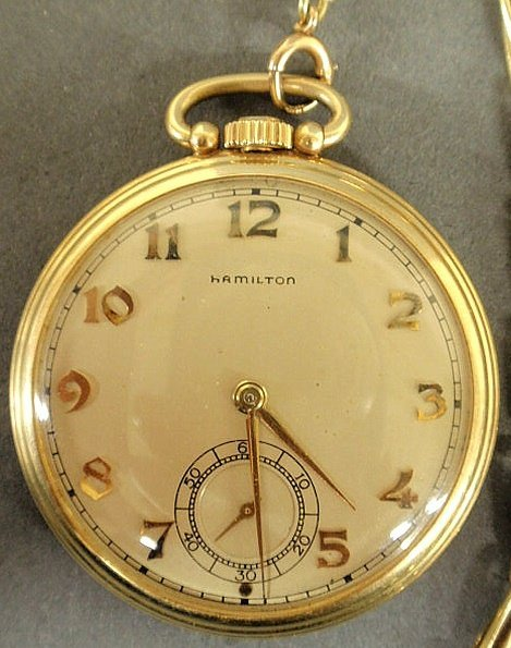 23: Hamilton 14k y.g. open-face pocket watch with a g - 3