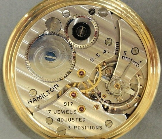 23: Hamilton 14k y.g. open-face pocket watch with a g - 6