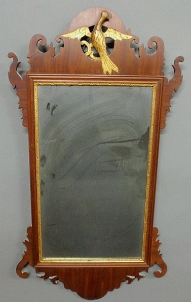 24: Chippendale mahogany mirror, c.1780, with carved