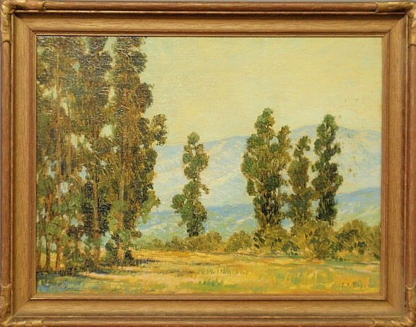25: Oil on canvas impressionist landscape painting wi