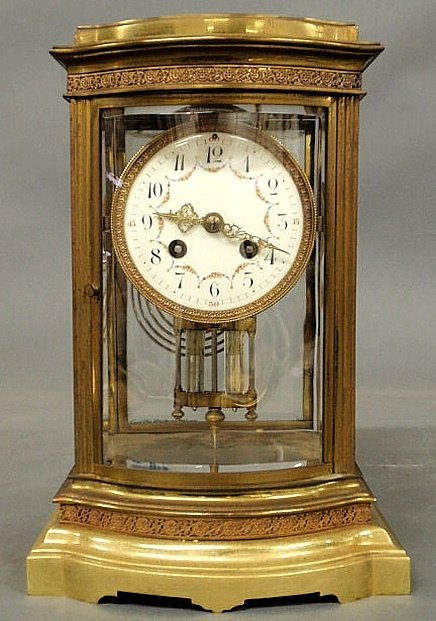 29: French brass mantel clock with beveled glass, a p
