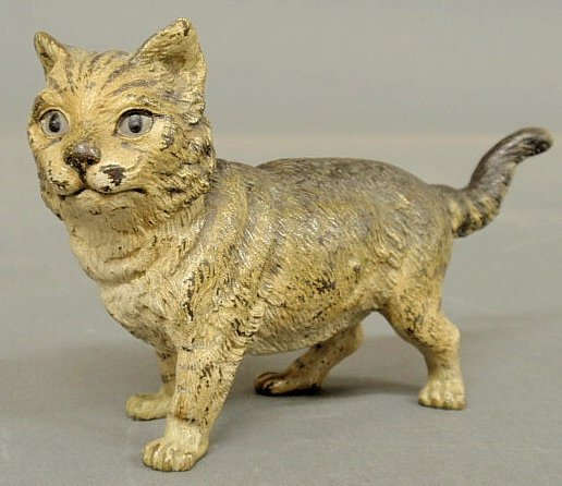 30: Cold painted bronze standing tom cat, late 19th c