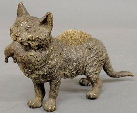 Large Cold Painted Bronze Cat Carrying A Mouse In