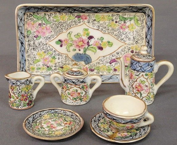 35: Sevres porcelain miniature tea service. As found.