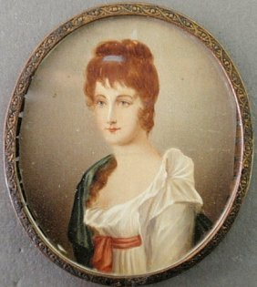 Miniature Oval Portrait On Ivory Of A Young Woman