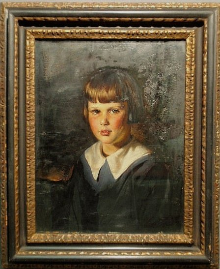 46: Oil on panel portrait of a young girl, early 20th