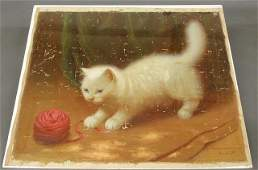 211: Oil on canvas painting of a white long-haired cat