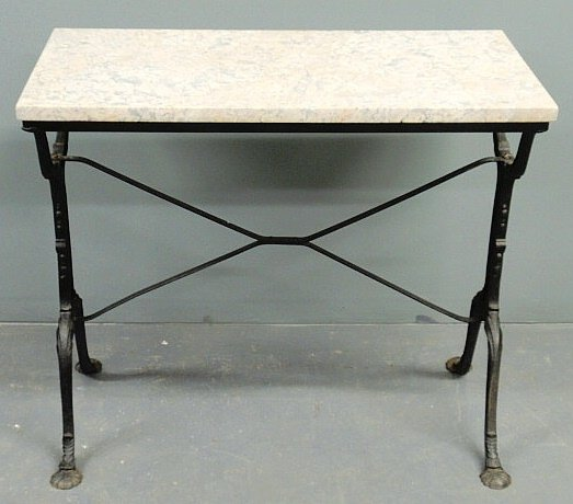 216: Cast Iron Patio Table With A Marble Top And Shell