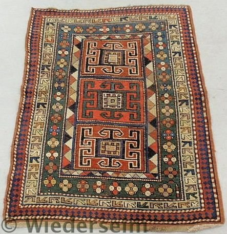 6: Colorful Kazak oriental mat with geometric patter