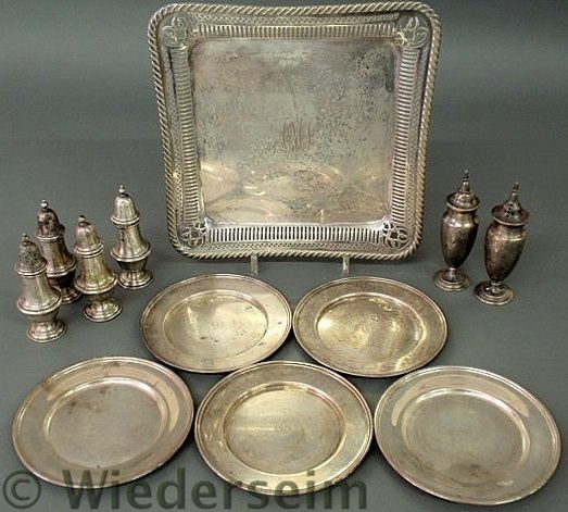 10: Group of sterling silver table articles TI six we