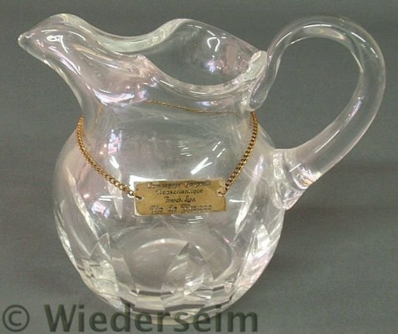 """11: Lead crystal water pitcher signed """"Cristal, St. L"""