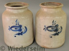 Two Unusual 1.5 Gallon Stoneware Crocks With Blue