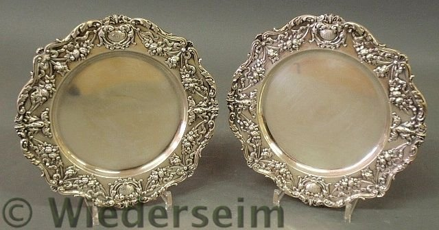 14: Pair of sterling silver service plates by Gorham
