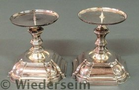 Pair Of Danish Weighted Silverplate Chippendale S