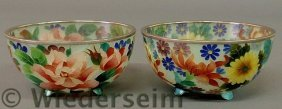 Colorful Pair Of Floral Decorated Glass Bowls, 20