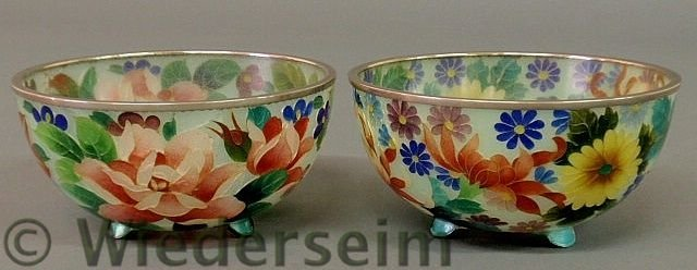 21: Colorful pair of floral decorated glass bowls, 20