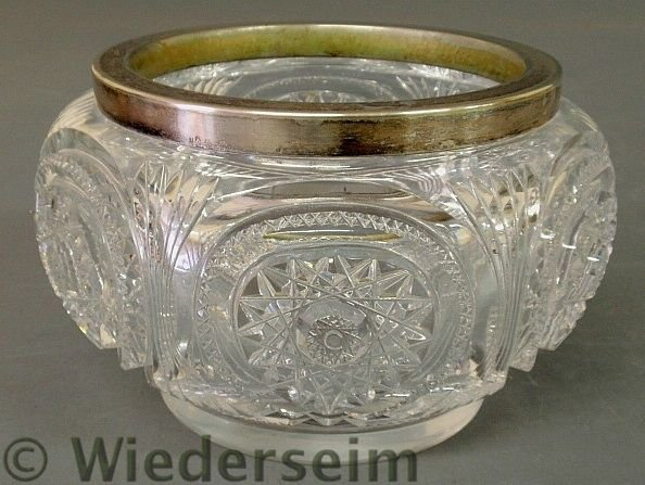 22: Cut glass centerpiece bowl, c.1920, hob star patt