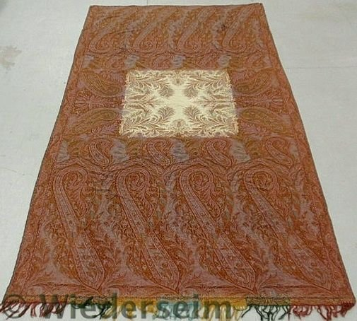 25: Large paisley homespun table cover with a square