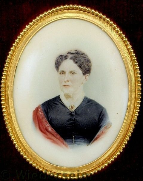 36: Miniature watercolor portrait on ivory of a woman