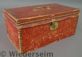 Red Leather Storage Box, 19th C., With Brass Stud