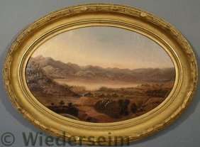 Hudson River School Oval Oil On Canvas Mountain A