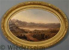 54: Hudson River School oval oil on canvas mountain a