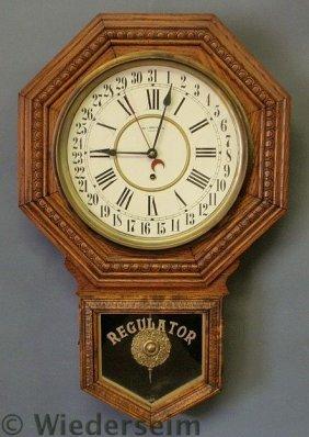 Oak Regulator Clock By Wm. L. Gilbert Clock Co. 2