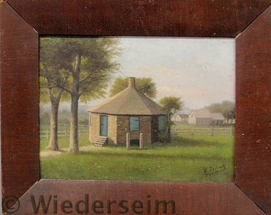 62: Oil on panel painting of an octagonal schoolhouse