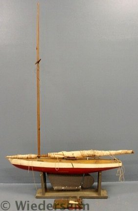 Large Pond Boat, C.1940, With Lead Keel And Origi