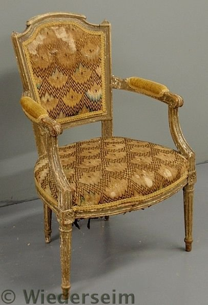 79: French fauteuil. 18th c., with flame stitched uph