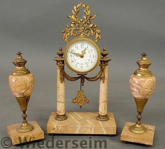 80: French gilt and marble mantel clock, 19th c., wit
