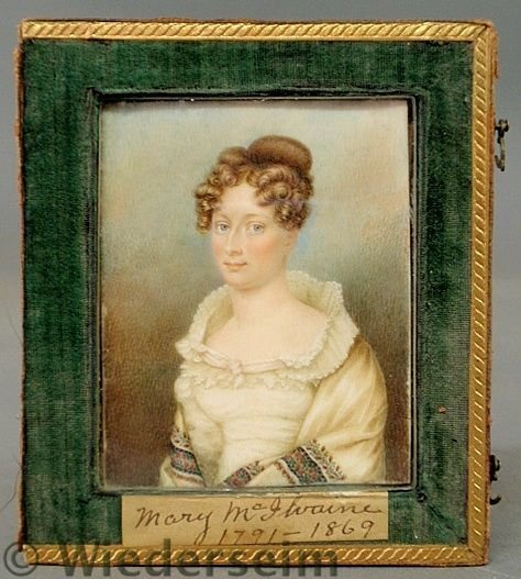 83: Fine American miniature watercolor on ivory portr