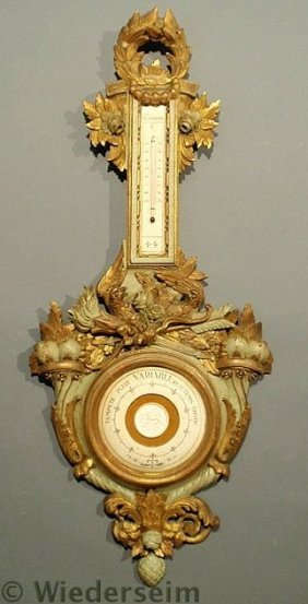 Italian Carved Gilt Wood Barometer And Thermomete