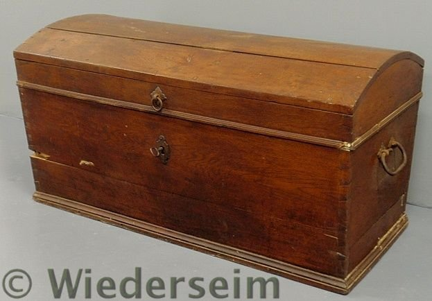 113: Walnut dome-lid blanket chest, 19th c., with  wro