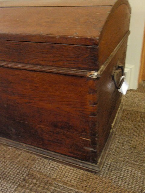 113: Walnut dome-lid blanket chest, 19th c., with  wro - 6